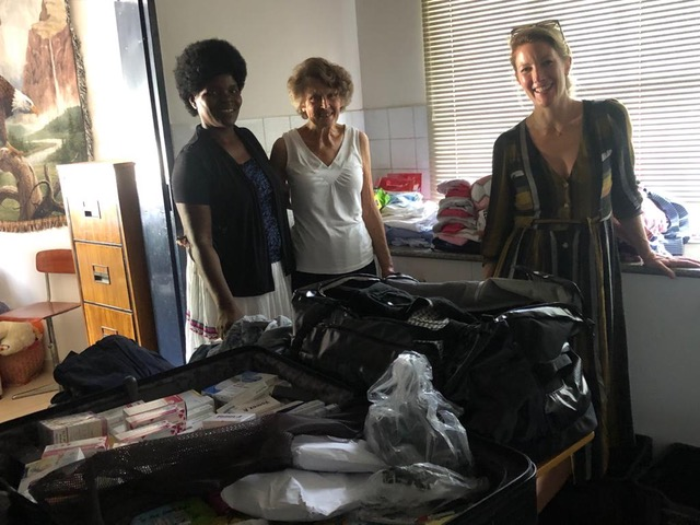 Donations of medication, clothes and toys from Germany.